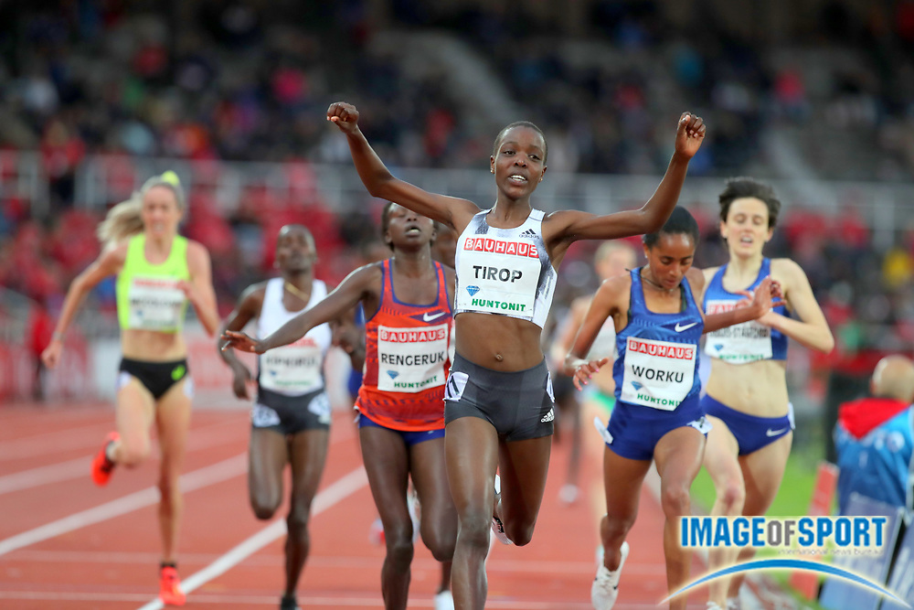 Agnes Tirop (KEN) celebrates after winning the women's 5,000m in 14:50.82 during the Bauhaus-Galan in a IAAF Diamond League meet at Stockholm Stadium in Stockholm, Sweden on Thursday, May 30, 2019. (Jiro Mochizuki/Image of Sport)