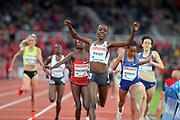 Agnes Tirop (KEN) celebrates after winning the women's 5,000m in 14:50.82 during the Bauhaus-Galan in a IAAF Diamond League meet at Stockholm Stadium in Stockholm, Sweden on Thursday, May 30, 2019. (Jiro Mochizuki/Image of Sport)