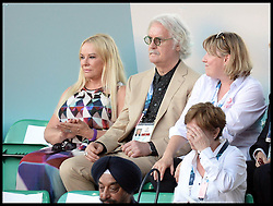 Image licensed to i-Images Picture Agency. 23/07/2014. Glasgow, United Kingdom. Billy Connolly and his wife Pamela Stephenson (left) join The Queen with The Duke of Edinburgh during the opening ceremony of  the Commonwealth Games in Glasgow.. Picture by Andrew Parsons / i-Images
