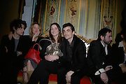 Louis Garel and Valeria Bruni Tedeschi, Carla Bruni and Raphael Enthoven ( Carla's husband ). , private view of The Alberto Bruni Tedeschi Collection -  Sotheby's,19 March 2007.  -DO NOT ARCHIVE-© Copyright Photograph by Dafydd Jones. 248 Clapham Rd. London SW9 0PZ. Tel 0207 820 0771. www.dafjones.com.