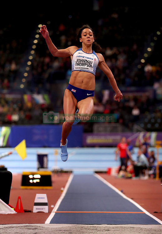 Great Britain's Katarina Johnson-Thompson in action in the Women's Pentathlon Long Jump during day two of the 2018 IAAF Indoor World Championships at The Arena Birmingham.