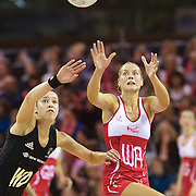 Tamsin Greenway, England, (right) is challenged by Kayla Cullen, New Zealand, during the New Zealand V England, New World International Netball Series, at the ILT Velodrome, Invercargill, New Zealand. 6th October 2011. Photo Tim Clayton...