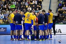 Players of RK Celje Pivovarna Lasko during handball match between RK Celje Pivovarna Lasko (SLO) and Paris Saint-Germain Handball (FRA) in VELUX EHF Champions League, on February 11, 2018 in Dvorana Zlatorog, Celje, Slovenia. Photo by Urban Urbanc / Sportida