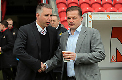 Doncaster Rovers Manager Darren Ferguson shakes hands with Peterborough United Manager Graham Westley before the game - Mandatory byline: Joe Dent/JMP - 19/03/2016 - FOOTBALL - The Keepmoat Stadium - Doncaster, England - Doncaster Rovers v Peterborough United - Sky Bet League One