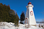 Lighthouse on Georgian Bay in winter<br /> Tobermory<br /> Ontario<br /> Canada