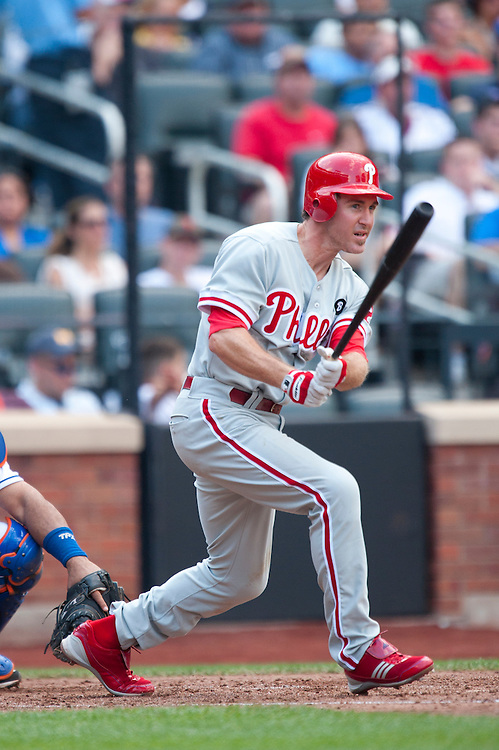 NEW YORK - JULY 16: Chase Utley #26 of the Philadelphia Phillies bats during the game against the New York Mets  at Citi Field on July 16, 2011 in the Queens borough of Manhattan. (Photo by Rob Tringali) *** Local Caption *** Chase Utley