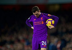 LONDON, ENGLAND - Saturday, November 3, 2018: Liverpool's Andy Robertson prepares to take a throw-in during the FA Premier League match between Arsenal FC and Liverpool FC at Emirates Stadium. (Pic by David Rawcliffe/Propaganda)