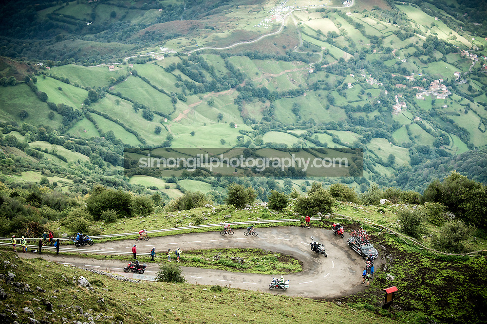 September 9th 2017, Alto de L'Angliru, Spain; Cycling, Vuelta a Espana Stage 20; Chris Froome follows Wout Poels and leaves Ilnur Zakarin as they approach the final km of the stage.