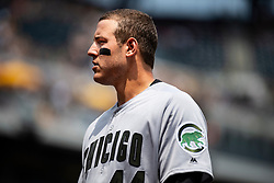 May 28, 2018 - Pittsburgh, PA, U.S. - PITTSBURGH, PA - MAY 28:   Chicago Cubs first baseman Anthony Rizzo (44) looks on during an MLB game between the Pittsburgh Pirates and Chicago Cubs on May 28, 2018 at PNC Park in Pittsburgh, PA. (Photo by Shelley Lipton/Icon Sportswire) (Credit Image: © Shelley Lipton/Icon SMI via ZUMA Press)
