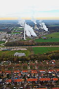 Nederland, Limburg , Geleen, 15-11-2010; woonwijk Krawinkel - arbeidersbuurt grenzend aan Chemelot, DSM luchtfoto (toeslag), aerial photo (additional fee required).foto/photo Siebe Swart