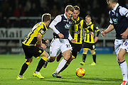 Millwall FC midfielder George Saville on the attack during the Sky Bet League 1 match between Burton Albion and Millwall at the Pirelli Stadium, Burton upon Trent, England on 1 December 2015. Photo by Aaron Lupton.