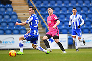 Hartlepool player Nathan Thomas scores in the second half  during the EFL Sky Bet League 2 match between Colchester United and Hartlepool United at the Weston Homes Community Stadium, Colchester, England on 25 February 2017. Photo by Ian  Muir.