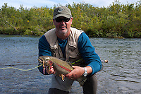 A happy angler, Kanektok River..Shot in Alaska, USA