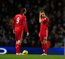 03.01.2012, Etihad Stadion, Manchester, ENG, PL, Manchester City vs FC Liverpool, 19. Spieltag, im Bild Liverpool's Andy Carroll and Jordan Henderson looks dejected after Manchester City's second goal during the football match of English premier league, 19th round, between Manchester City and FC Liverpool at Etihad Stadium, Manchester, United Kingdom on 2012/01/03. EXPA Pictures © 2012, PhotoCredit: EXPA/ Propagandaphoto/ David Rawcliff..***** ATTENTION - OUT OF ENG, GBR, UK *****