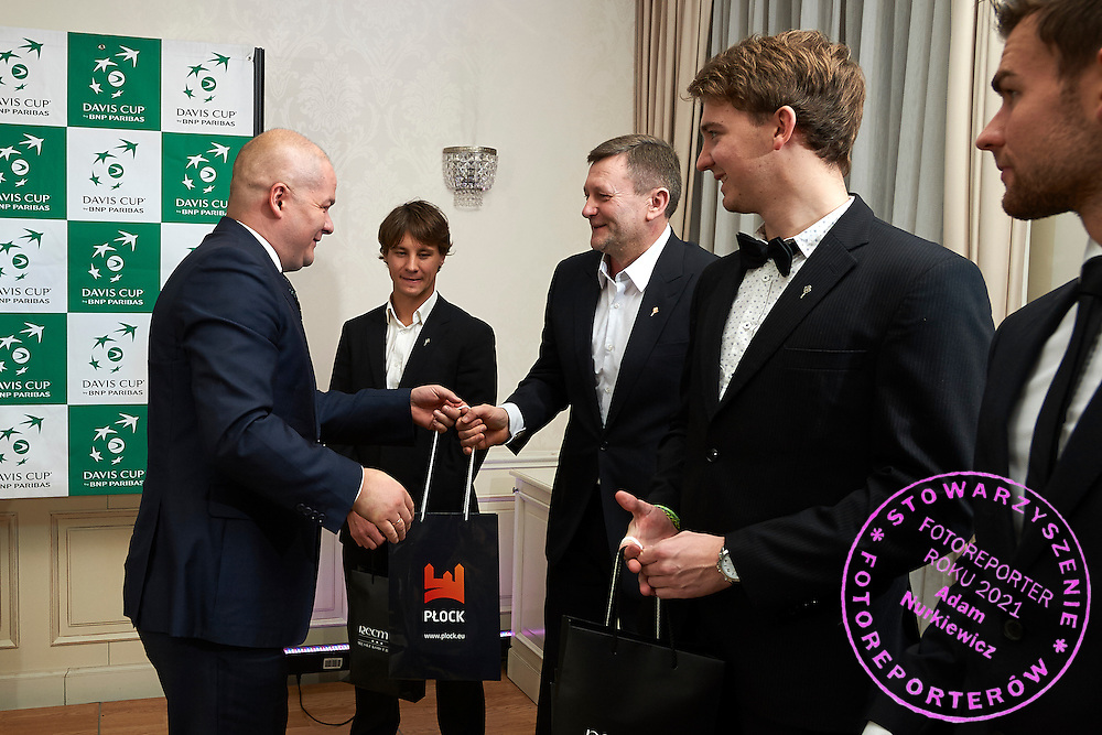 during official dinner two days before the Davies Cup / Group I Europe / Africa 1st round tennis match between Poland and Lithuania at Herman Hotel on March 4, 2015 in Plock, Poland<br /> Poland, Plock, March 4, 2015<br /> <br /> Picture also available in RAW (NEF) or TIFF format on special request.<br /> <br /> For editorial use only. Any commercial or promotional use requires permission.<br /> <br /> Mandatory credit:<br /> Photo by &copy; Adam Nurkiewicz / Mediasport