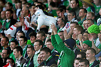 Photo: Andrew Unwin.<br />Northern Ireland v Wales. World Cup Qualifier.<br />08/10/2005.<br />The Northern Ireland fans taunt the Welsh with their plastic sheep.