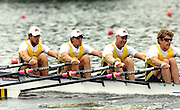 Poznan, POLAND.  2006, FISA, Rowing, World Cup, AUS M4X bow, Chris MORGAN,  Peter HARDCASTLE, Craig JONES, David CRAWSHAY, move  away from  the  start, on the Malta  Lake. Regatta Course, Poznan, Thurs. 15.06.2006. © Peter Spurrier   ...[Mandatory Credit Peter Spurrier/ Intersport Images] Rowing Course:Malta Rowing Course, Poznan, POLAND