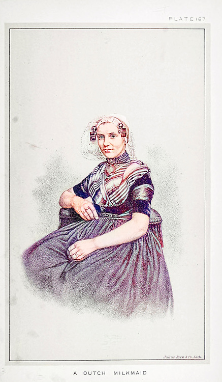 Portrait of a Dutch milkmaid in traditional clothes from Cattle and dairy farming. Published 1887 by Govt. Print. Off. in Washington. United States. Bureau of Foreign Commerce (1854-1903) Machine colourized historic image