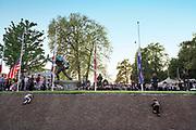 Nederland, Nijmegen, 4-5-2018 Dodenherdenking bij het oorlogsmonument op het Trajanusplein. Burgemeester Hubert Bruls voert het woord en legt een krans . Foto: Flip Franssen