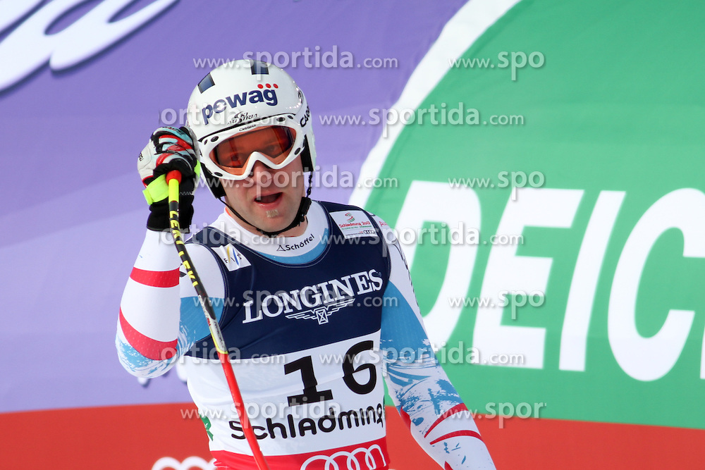 11.02.2013, Planai, Schladming, AUT, FIS Weltmeisterschaften Ski Alpin, Super Kombination, Abfahrt,  Herren, im Bild Romed Baumann (AUT) // Romed Baumann of Austria reacts after his run of Mens Super Combined Downhill at the FIS Ski World Championships 2013 at the Planai Course, Schladming, Austria on 2013/02/11. EXPA Pictures © 2013, PhotoCredit: EXPA/ Martin Huber