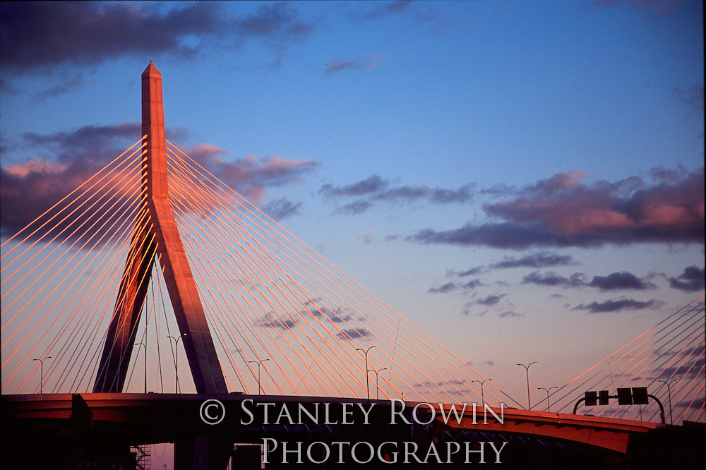 Zakim Bunker Hill Bridge; Boston; Dusk