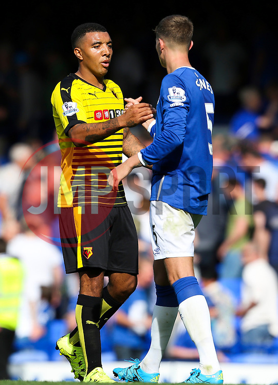Watford's Troy Deeney shakes hands with Everton's John Stones - Mandatory byline: Matt McNulty/JMP - 07966386802 - 08/08/2015 - FOOTBALL - Goodison Park -Liverpool,England - Everton v Watford - Barclays Premier League