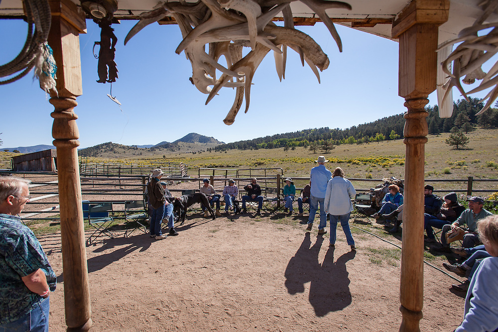 Amy Finger and Gary Ziegler host visitors during the Wet Mountain Western Pilgrimage interested in Ute culture at the Bear Basin Ranch.