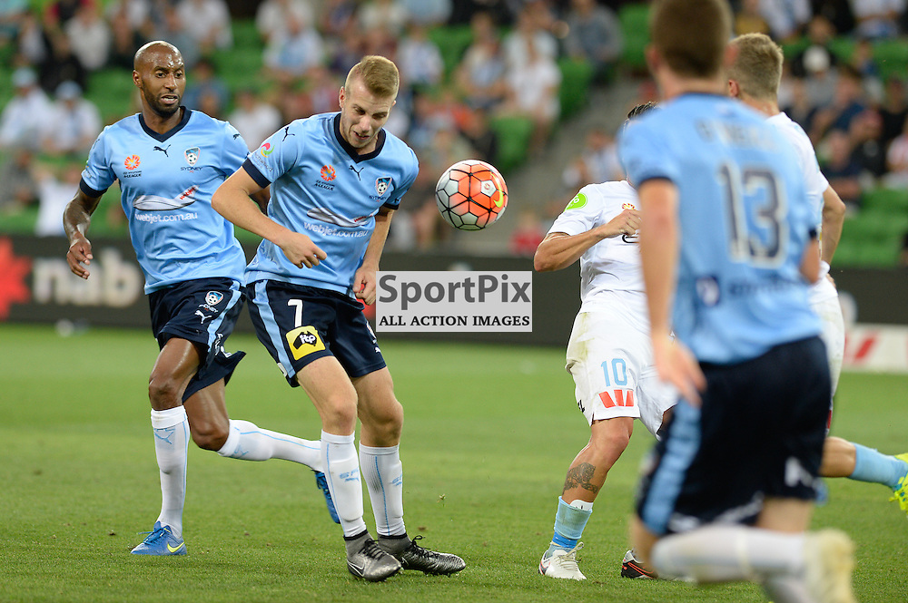 Andrew Hoole of Sydney FC, Robert Koren of Melbourne City - Hyundai A-League, January 2nd 2016, RD13 match between Melbourne City FC V Sydney FC at Aami Park, Melbourne, Australia in a 2:2 draw. © Mark Avellino | SportPix.org.uk