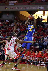 06 December 2008: Kenneth Faried takes a fader while being guarded by Dinma Odiakosa during a game where the  Illinois State University Redbirds extended their record to 9-0 with a 76-70 win over the Eagles of Morehead State on Doug Collins Court inside Redbird Arena on the campus of Illinois State University in Normal Illinois