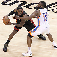 14 June 2012: Miami Heat small forward LeBron James (6) looks to pass the ball past Oklahoma City Thunder guard James Harden (13) during the Miami Heat 100-96 victory over the Oklahoma City Thunder, in Game 2 of the 2012 NBA Finals, at the Chesapeake Energy Arena, Oklahoma City, Oklahoma, USA.
