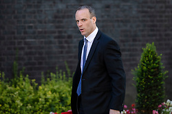 © Licensed to London News Pictures. 17/07/2018. London, UK. Secretary of State for Exiting the European Union Dominic Raab arrives on Downing Street for the Cabinet meeting. Photo credit: Rob Pinney/LNP
