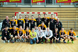 Players of Hrastnik after the handball match between RK Koper 2013 and RK Dol TKI Hrastnik for 3rd place of Slovenian Handball Cup 2015, on March 29, 2015 in Arena Bonifika, Koper, Slovenia. Photo by Vid Ponikvar / Sportida