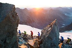 THEMENBILD - Großglockner im Sommer. das Bild wurde am 12. August 2012 aufgenommen. im Bild Bergsteiger über dem Hofmanns Kees im ersten Sonnenlicht des Tages // THEME IMAGE FEATURE - Großglockner at Summer. The image was taken on august, 12, 2012. Picture shows Alpinists in front of Hofmanns Kees Glacier in the first Sunlight of the day , AUT, EXPA Pictures © 2012, PhotoCredit: EXPA/ M. Gruber