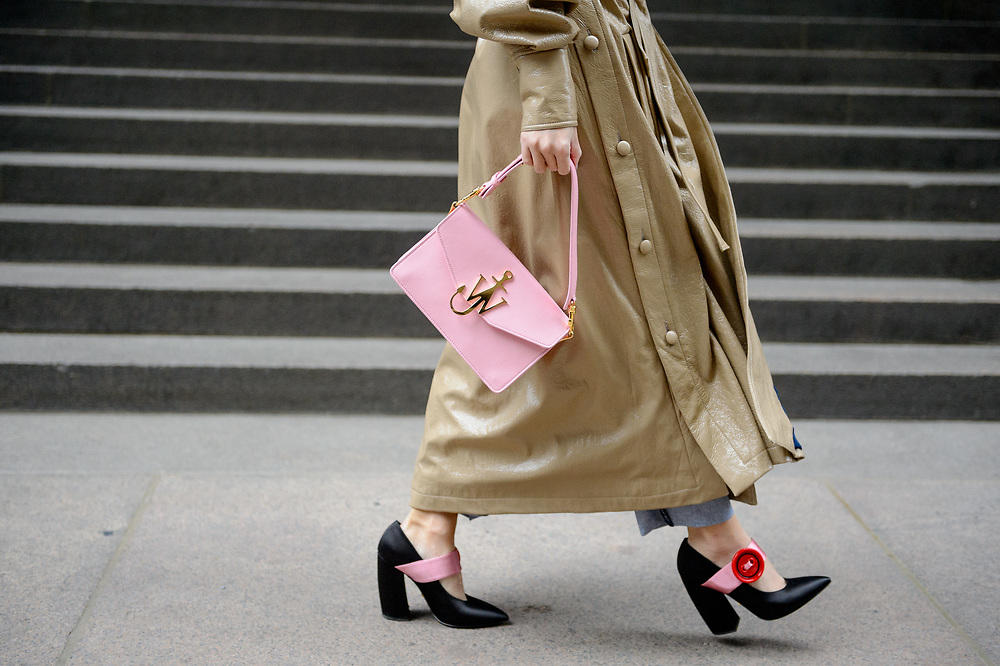 Pink Bag and Red Button Shoes, Outside Derek Lam FW2018