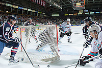 KELOWNA, CANADA - JANUARY 22: Rourke Chartier #14 of Kelowna Rockets looks for the pass in front of the net of Evan Sarthou #31 of Tri City Americans on January 22, 2016 at Prospera Place in Kelowna, British Columbia, Canada.  (Photo by Marissa Baecker/Shoot the Breeze)  *** Local Caption *** Rourke Chartier; Evan Sarthou;