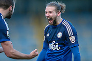 Kingsley James (Halifax) celebrates scoring Halifax's opening goal during the Vanarama National League match between FC Halifax Town and Welling United at the Shay, Halifax, United Kingdom on 30 January 2016. Photo by Mark P Doherty.