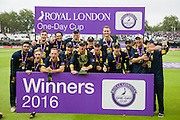 Warwickshire 2016 Royal London One Day Cup winners after beating Surrey County Cricket Club at Lord's Cricket Ground, St John's Wood, United Kingdom on 17 September 2016. Photo by David Vokes.