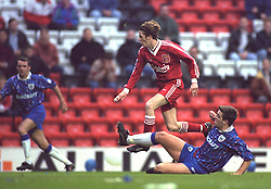 LIVERPOOL, ENGLAND - Saturday, January 6, 1996: Liverpool's Steve McManaman in action against Rochdale during the FA Cup 3rd Round match at Anfield. (Photo by David Rawcliffe/Propaganda)