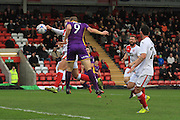 Danny Wright scores and celebrates the opening goal during the Vanarama National League match between Kidderminster Harriers and Cheltenham Town at Aggborough, Kidderminster, United Kingdom on 26 December 2015. Photo by Antony Thompson.