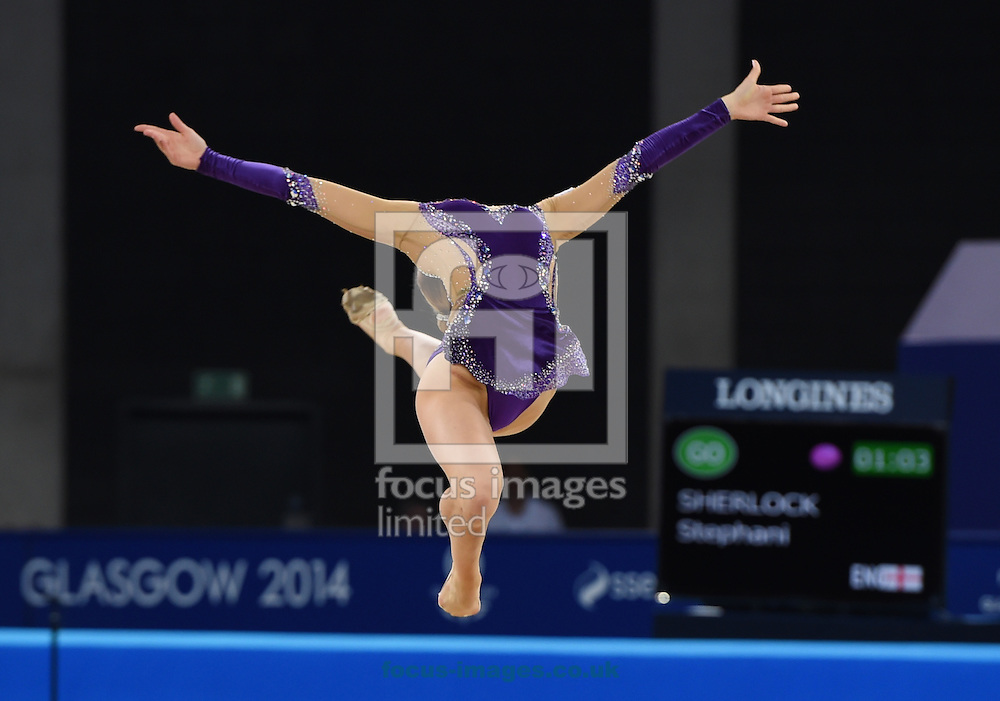 Stephani Sherlock ENG during her performance in the Rhythmic Gymnastics ball final at SSE Hydro, Glasgow<br /> Picture by Alan Stanford/Focus Images Ltd +44 7915 056117<br /> 26/07/2014