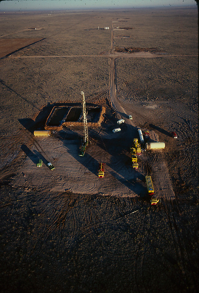 Stock photo of an aerial view of a land based drilling operation