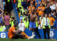 Chelsea's Didier Drogba celebrates his second<br /> F.A. Barclaycard Premiership. Chelsea v Hull. 15.08.09<br /> Pic By Karl Winter Fotosports International
