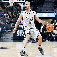 02 April 2017: San Antonio Spurs guard Tony Parker (9) dribbles during the San Antonio Spurs 109-103 victory over the Utah Jazz, at the AT&T Center, San Antonio, Texas, USA.