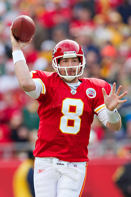 KANSAS CITY, MO - DECEMBER 18:   Kyle Orton #8 of the Kansas City Chiefs throws a pass against the Green Bay Packers at Arrowhead Stadium on December 18, 2011 in Kansas CIty, Missouri.  The Chiefs defeated the Packers 19-14.   (Photo by Wesley Hitt/Getty Images) *** Local Caption *** Kyle Orton