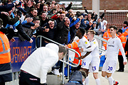 Coventry City forward Bright Enobakhare (24) celebrates his goal with fans during the EFL Sky Bet League 1 match between Peterborough United and Coventry City at London Road, Peterborough, England on 16 March 2019.