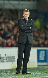 CARDIFF, WALES - Tuesday, February 11, 2014: Cardiff City's manager Ole Gunnar Solskjær during the Premiership match against Aston Villa at the Cardiff City Stadium. (Pic by David Rawcliffe/Propaganda)