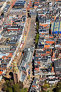 Nederland, Groningen, Groningen, 01-05-2013;<br /> Nederland, Groningen, Groningen, 01-05-2013; Groningen-stad, centrum. Vismarkt met De Korenbeurs, A-kerkhof met der Aa-kerk. Boven het Stadhuis op de Grote Markt.<br /> View on the city of Groningen, old town. Der Aa-kerk (church) and the City Hall (top pic).<br /> luchtfoto (toeslag op standard tarieven)<br /> aerial photo (additional fee required)<br /> copyright foto/photo Siebe Swart