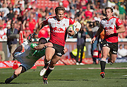 Lions v Highlanders. Rohan Janse van Rensburg of the Emirates Lions gets away from Matt Faddes of the Highlanders for his try during the 2016 Super Rugby semi-final match at Ellis Park, Johannesburg, 30 July 2016. <br /> <br /> © Anton de Villiers / www.photosport.nz