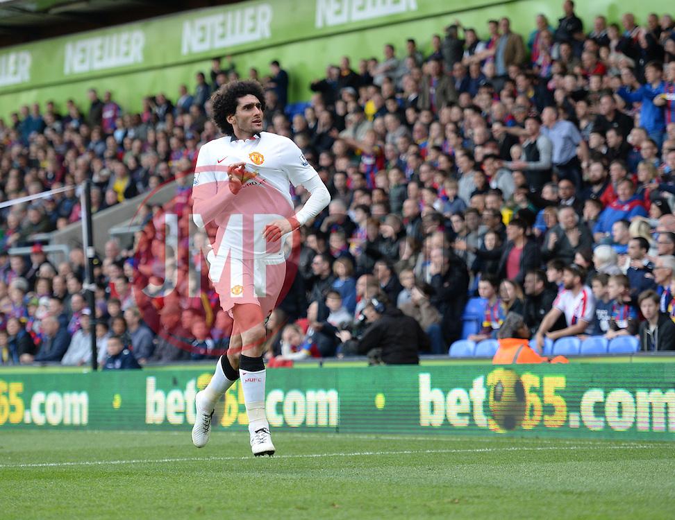 Manchester United's Marouane Fellaini celebrates. - Photo mandatory by-line: Alex James/JMP - Mobile: 07966 386802 - 09/05/2015 - SPORT - Football - London - Selhurst Park - Crystal Palace v Manchester United - Barclays Premier League