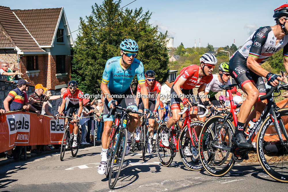 Peloton with FUGLSANG Jakob of Astana Pro Team during 2nd lap on Mur de Huy at the 2018 La Flèche Wallonne race, Huy, Belgium, 18 April 2018, Photo by Thomas van Bracht / PelotonPhotos.com | All photos usage must carry mandatory copyright credit (Peloton Photos | Thomas van Bracht)